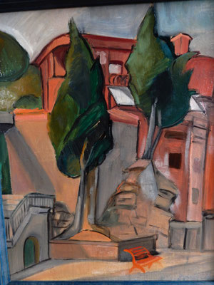 Bench with cypress trees (Villefranche-sur-Mer?), Oil on paper, 54x44 cm