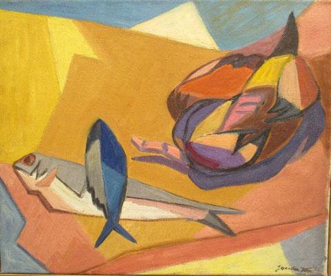 Stilleven met vissen_1 (Den Haag, 1951), olieverf, 38x48 cm
