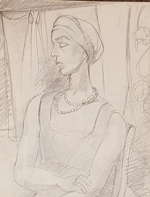 Pre-study for Lady with headscarf (ca. 1933-1934)