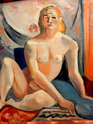 Nude in front of floral cloth (Paris, ca. 1933-1934), oil paint, 54x45 cm