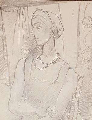 Etude pour Lady avec foulard (vers 1933-1934)