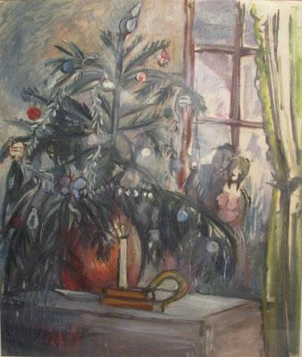 Verloofd bij de boom (Berlijn, 1939), aquarel, 45x38 cm. Julie verloofde zich in 1929 met de Irakees Yūnus Baḥrī. Voor de kerst van 1939 had hij voor hun woning aan de Kurfürstendamm 50 in Berlijn een kerstboom compleet met versiering gekocht.