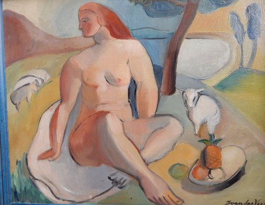Nude with sheep and fruit plate (Paris, ca. 1933-1934), oil paint, 44x54 cm