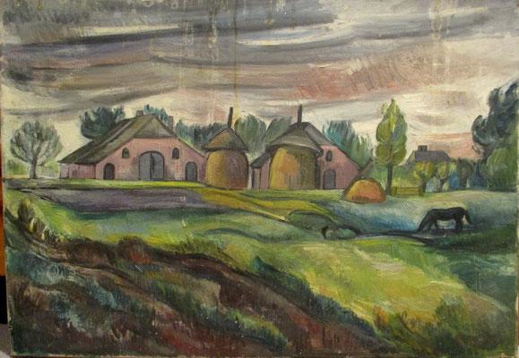 Boerderij_3 (Tiel, 1942), olieverf, 49x70 cm