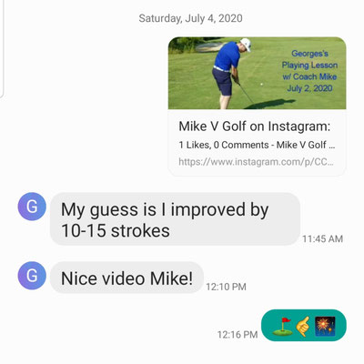 Georges T continues his tremendous improvement. After just 7 lessons and a playing lesson with Mike, Georges claims he has improved 10-15 shots.