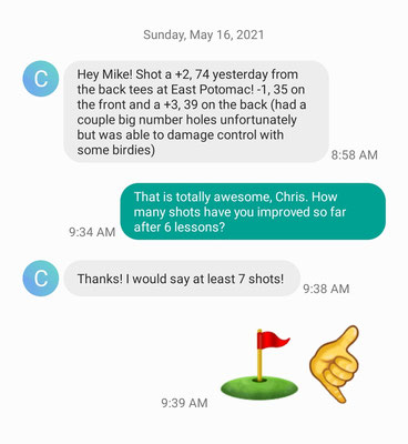 Chris M has gone from a low to mid 80s player to a 70s player in just 6 lessons.  I expect him to be a 3 handicap by the end of the year with 5-7 more lessons. Congrats Chris!