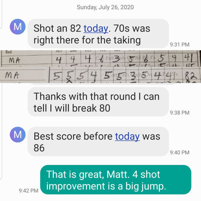 After just 3 lessons, my student Matt W improved his best score by 4 shots by shooting an 82 at Penderbrook GC. He was shooting in the high 80s/low 90s before I started teaching him. Great going Matt!