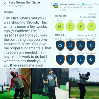 Mike's student Kass goes from the 120s to shooting a 93 after 8 lessons.