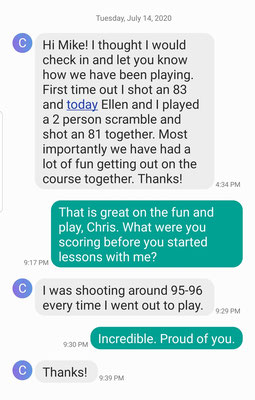 Chris is showing remarkable improvement after just 3 lessons with Mike.