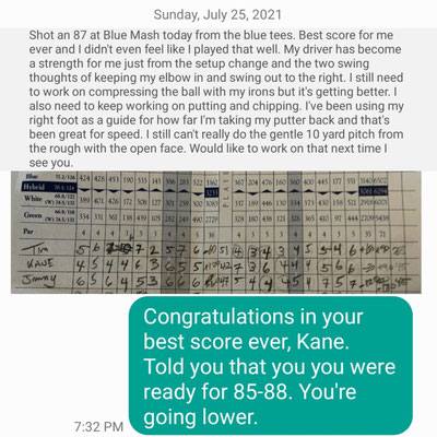 Congratulations on your best score ever at Blue Mash, Kane. I knew you would do it. You are headed to the low 80s soon.