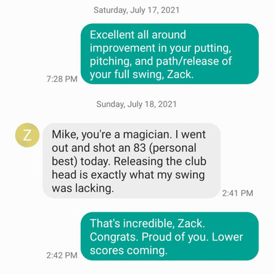 Zack S shoots his lowest score ever (83) after just 6 lessons.