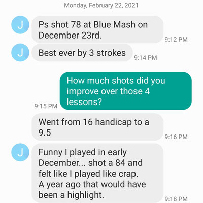 John D, a Montgomery County elementary school teacher, dropped to a single digit handicap after 4 lessons with Coach Mike.