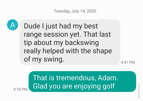 This is Adam's text after just 3 lessons.