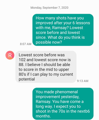 Ramsay improved 14 shots after only 6 lessons with Coach Mike.