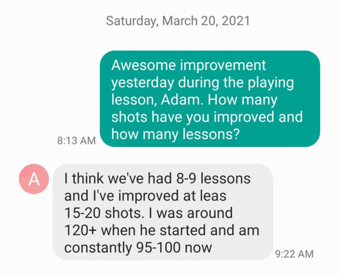 Adam I, a former Division 1 soccer player, improves 15-20 shots with Coach Mike's coaching and mentoring. Ready to break 90.