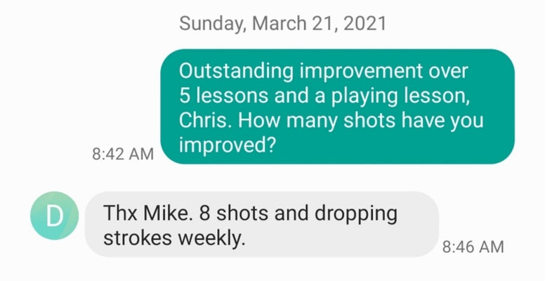 Chris T improves 8 shots with Coach Mike's coaching.