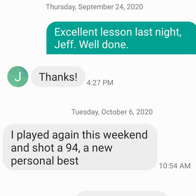 Jeff's personal all time low score keeps coming down. I expect him to shoot in the 80s very soon.