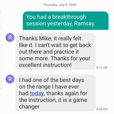 Ramsey improved his lowest score ever from a 96 to a 88 after just 2 lessons with Mike.