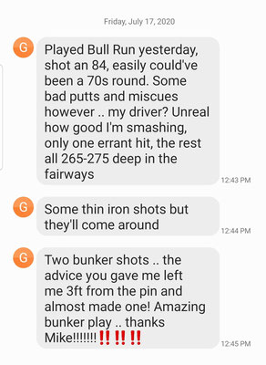 George S continues his march to shooting in the 70s.  After just 3 lessons with Mike, it will not be long.