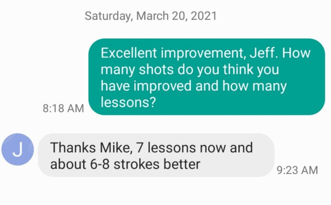 Jeff S improves 6-8 shots with Coach Mike's coaching.