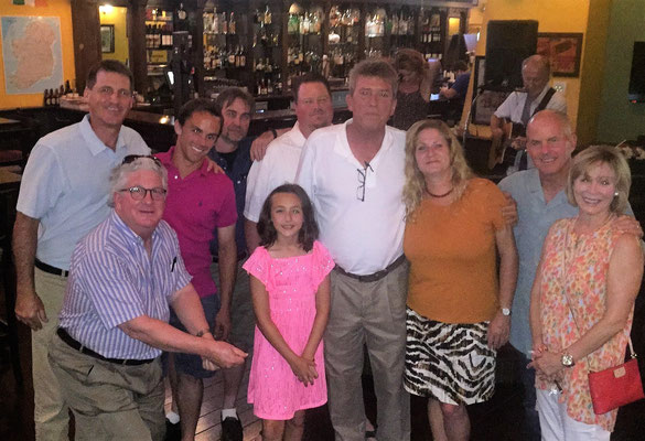 From Right: 3 time VA Open Champ, VA Hall of Famer, and former PGA Tour Pro Woody Fitzhugh and wife Joan, 23 time Golf Champion Dale Leith and friend Linda, brothers Trestan and Ryland Pine, Mike's 9 year old daughter Lauren, 70k+ Instagram star and golf trick shot artist Colin McCarthy, Bill Gorry, and Mike V celebrate Mike V's 50th Birthday.