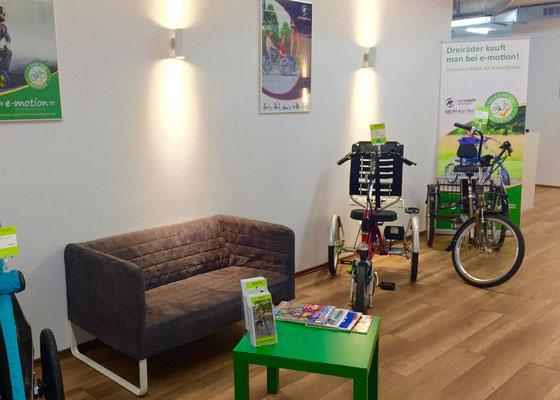 Dreiräder im Dreirad-Zentrum Braunschweig probefahren