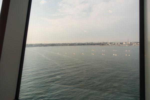 Blick aus dem Fenster auf Bari (Italien)