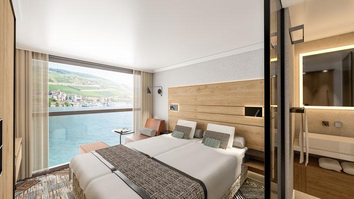 Panoramakabine auf dem Ober- & Mitteldeck |©nicko cruises Schiffsreisen GmbH