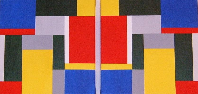 Geometrie Doppelbild, variabel zum Aufhängen    Acryl auf Leinwand 2 x 40 x 40  CHF 300