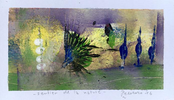 Sentier de la nature, 2016, tecnica mista, 14,5 x 8,5 cm