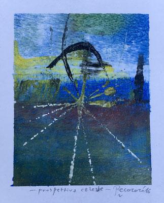 Prospettiva celeste, 2016, tecnica mista, 10 x 12,5 cm