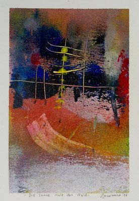 Die sonne malt den Wald, 2016, tecnica mista, 13 x 19 cm