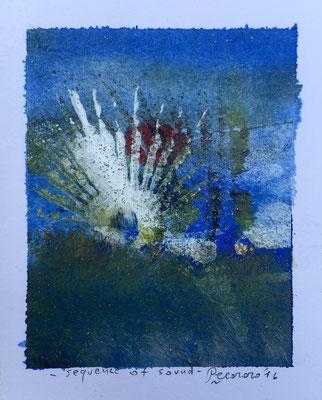 Sequence of sound, 2016, tecnica mista, 10 x 12,5 cm