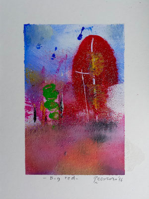 Big red, 2016, tecnica mista, 11 x 14,5 cm