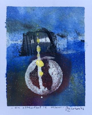 En attendant le retour, 2016, tecnica mista, 10 x 12,5 cm
