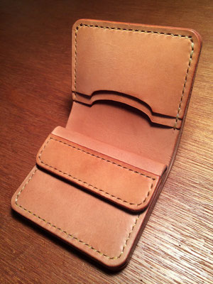 Short Wallet #1 .      Material : saddle leather / Size : 104mm × 98mm × T 17mm