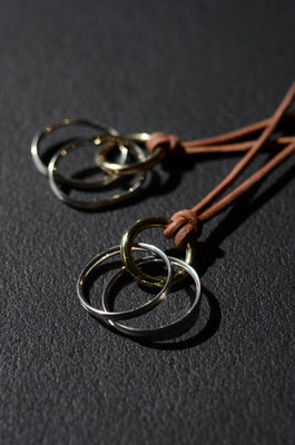 Necklace #1 .                      Material : leather . brass . silver 925