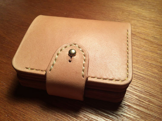 Short Wallet #2 .      Material : saddle leather / Size : 104mm × 98mm × T 21mm