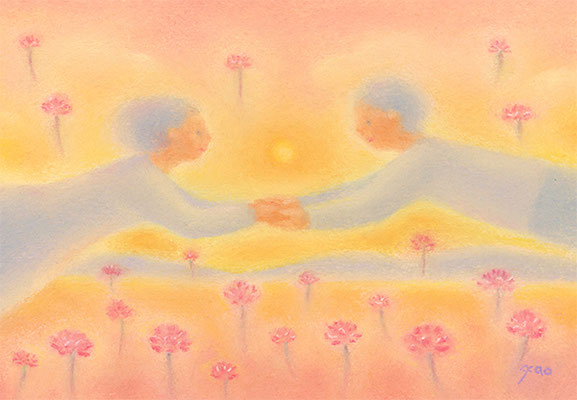 レンゲ畑の夕日(2020.個展.春のこみち)