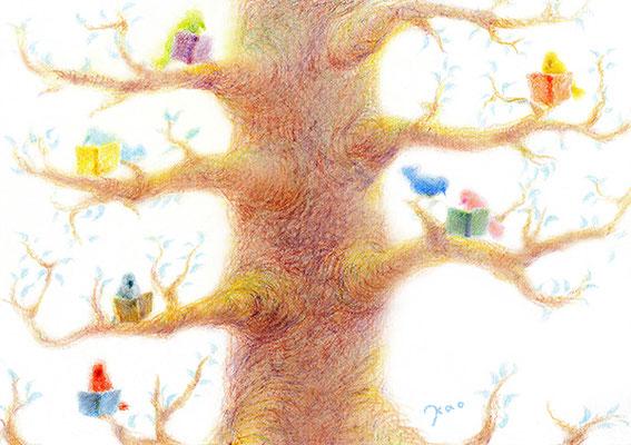 Birds read books on the tree