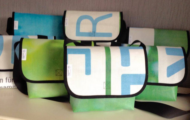Upcycling Tasche aus Mesch Plane