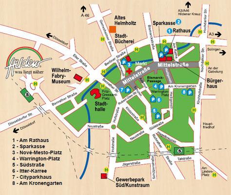 Plan von Hilden - Künstlermarkt in der Mittelstraße