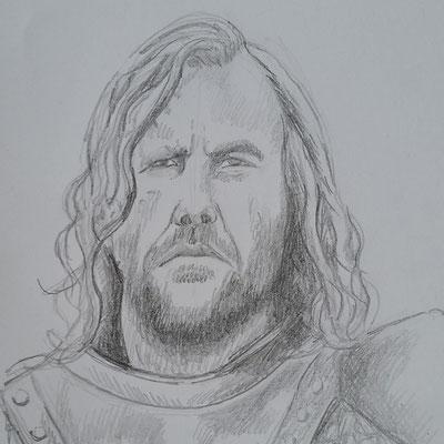 """Sandor Clegane (""""Der Bluthund"""") - Game of Thrones (Bleistift auf Papier)"""