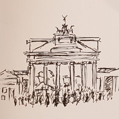 Urban Sketchng in Berlin - Brandenburger Tor (nur Fineliner)