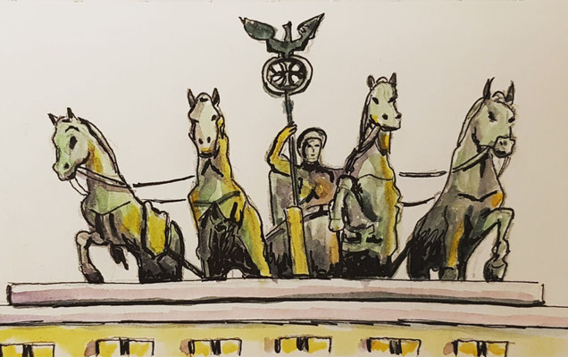 Urban Sketching in Berlin - Quadriga auf dem Brandenburger Tor