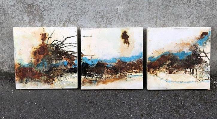 3 x 40x40 cm Leinwand  - zueinander- verkauft