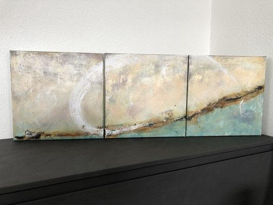 3 x 40x40 cm Leinwand  - mit Schwung aufwärts - 1050