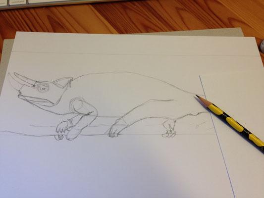 Vorzeichnen mit Bleistift