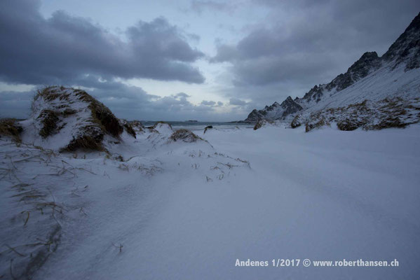 Schneebedeckter Strand bei Bleik - 1/2017 © Robert Hansen