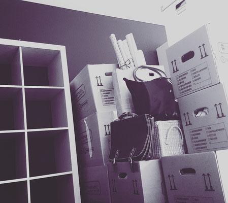 Abschied: Zwischen Kartons verschanzt und das leere Bücherregal betrauern...